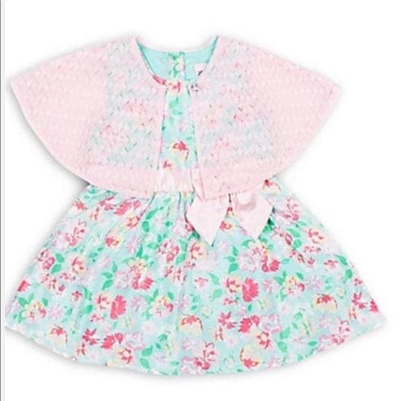 Little Lass Other - Little Lass Mint Floral Bow Dress & Pink Cardigan